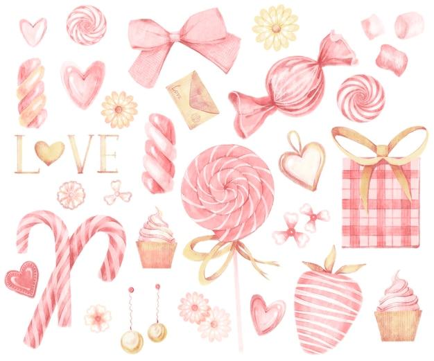 Grande conjunto aquarela rosa e dourado de elementos para o dia dos namorados, isolado no fundo branco