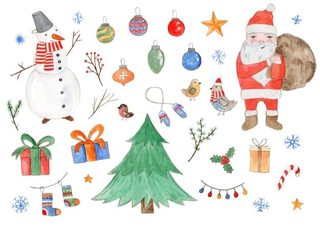 Grande conjunto colorido em aquarela de lindo abeto de natal, boneco de neve, papai noel, caixas de presente, luvas, meia, flocos de neve