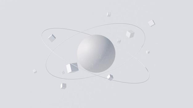 Grande esfera de textura branca e cubos em órbita. ilustração abstrata, renderização 3d.