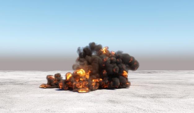 Grande explosão com fumaça em uma área vazia