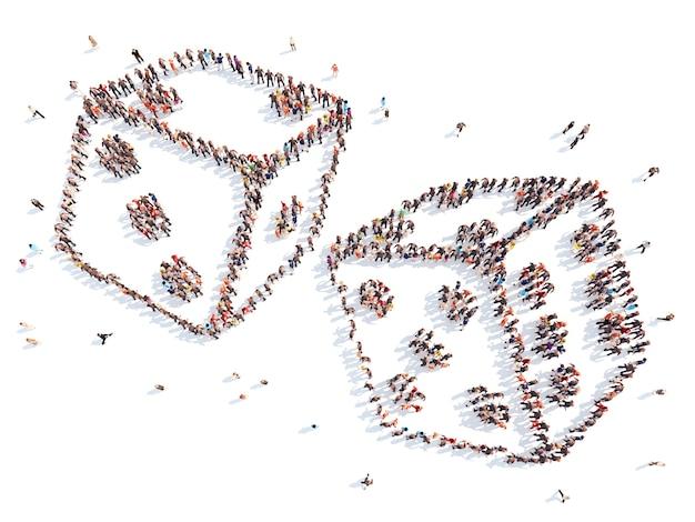 Grande grupo de pessoas na forma de dados