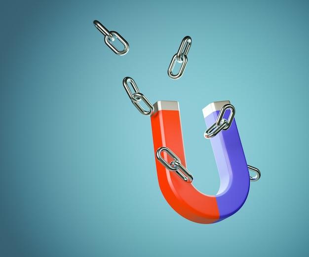 Grande ímã 3d com elo da corrente. conceito de marketing. renderização de ilustração 3d.