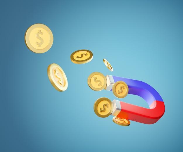Grande ímã 3d com moedas de ouro. conceito de marketing. renderização de ilustração 3d.