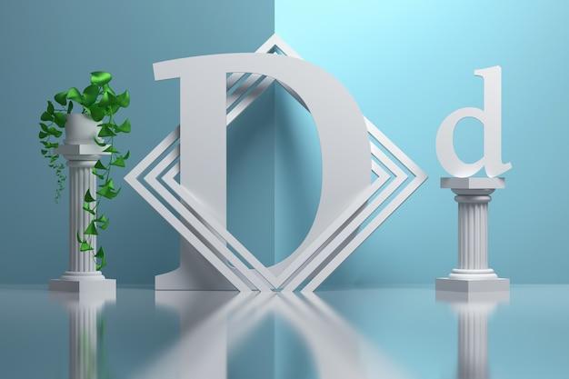 Grande letra bold (realce) d em composição com colunas gregas e vasos de plantas