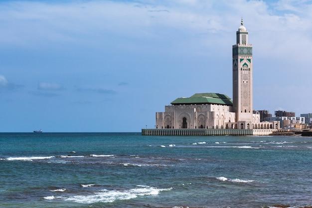 Grande mesquita de paisagem de casablanca