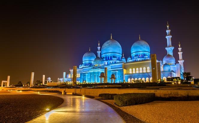 Grande mesquita sheikh zayed em abu dhabi, emirados árabes unidos