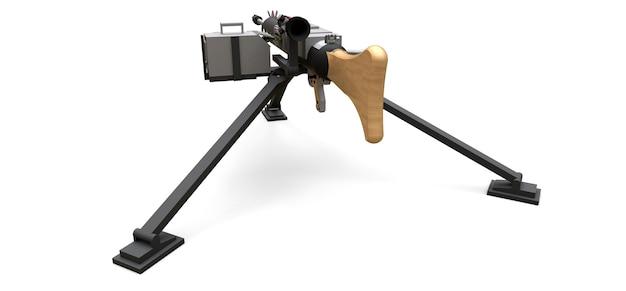 Grande metralhadora em um tripé com uma munição cassete completa em uma superfície branca