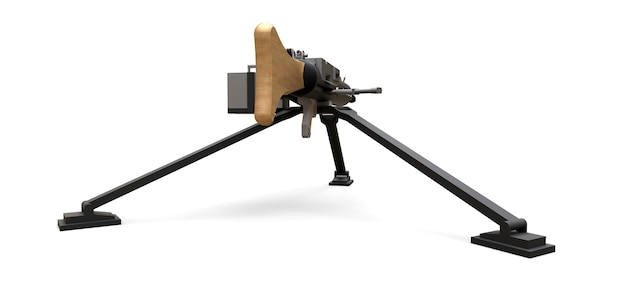 Grande metralhadora em um tripé com uma munição completa de cassete em um fundo branco. ilustração 3d.