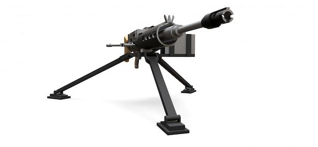 Grande metralhadora em um tripé com uma munição de cassete cheia em um fundo branco. ilustração 3d.