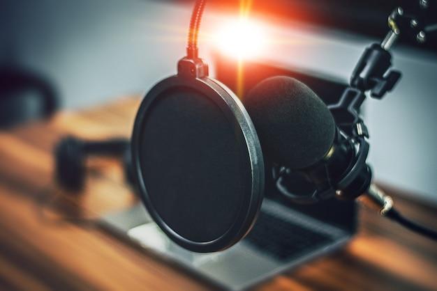 Grande microfone no entretenimento de estúdio de música em casa
