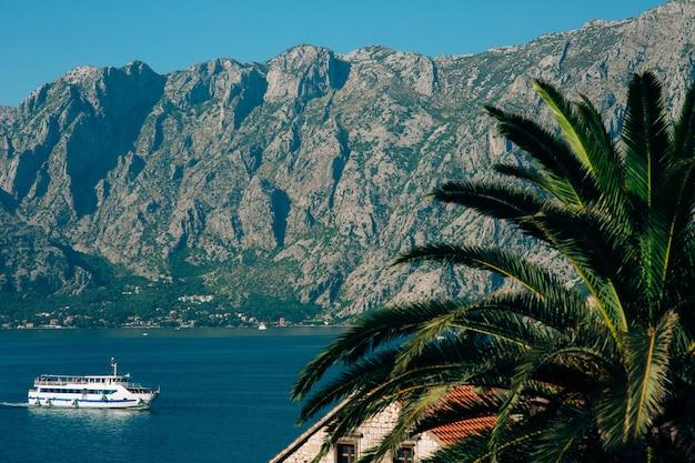 Grande navio de cruzeiro na baía de kotor, em montenegro