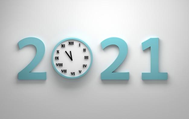 Grande número 2021 e relógio de parede com números romanos