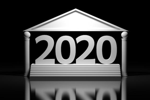 Grande número de data de ano novo 2020 em negrito em pé nas escadas sobre o piso de espelho. imagem em estilo grego com pilares estilizados