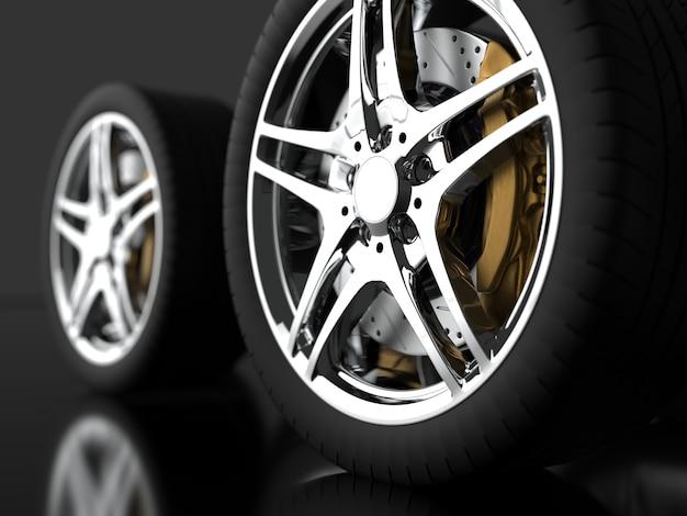 Grande número de rodas automotivas com aros cromados 3d render