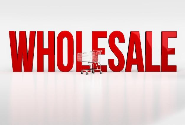 Grande palavra vermelha por atacado em branco ao lado do carrinho de compras. 3d render