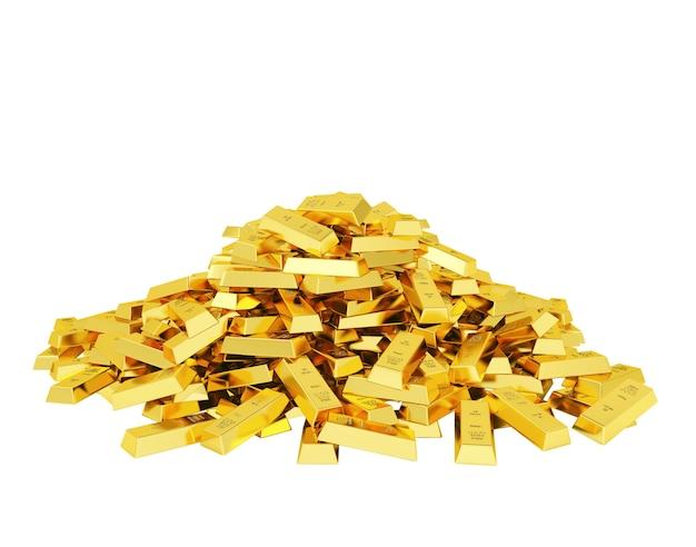 Grande pilha de barras de ouro