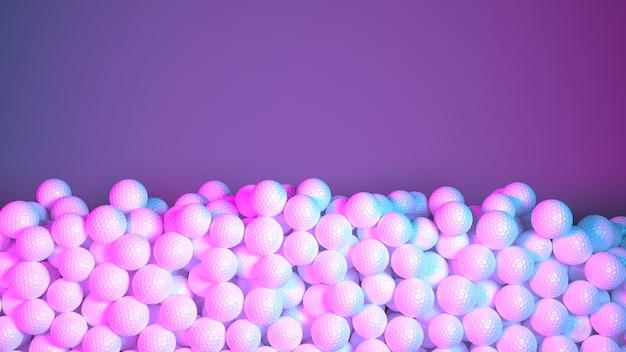 Grande pilha de bolas de golfe em luz neon