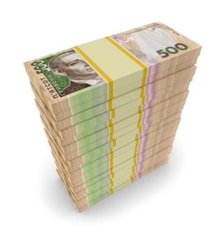 Grande pilha de dinheiro ucraniano hryvnia grivna hryvna com 500 notas