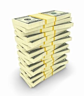 Grande pilha de notas de dólar