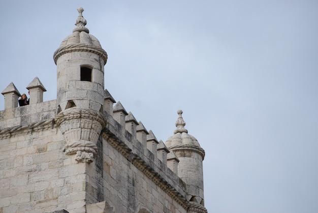 Grande plano da torre de belém em lisboa