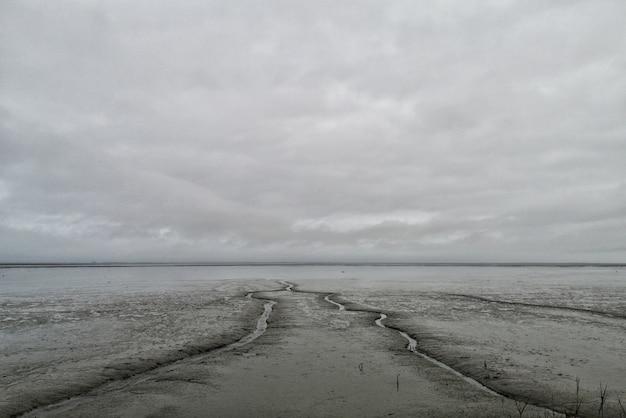 Grande plano de lamaçal com céu nublado e cinza