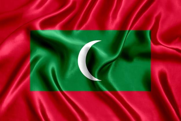 Grande plano de seda da bandeira das maldivas
