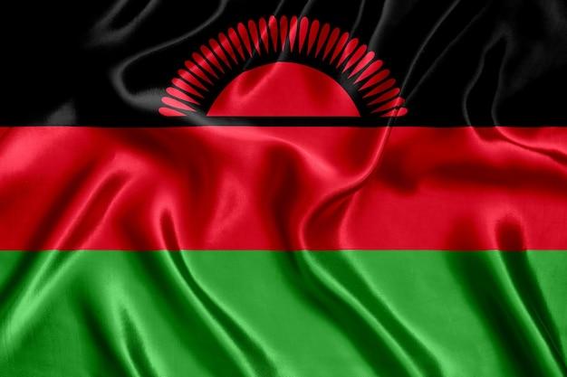 Grande plano de seda da bandeira do malawi