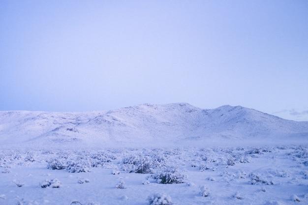 Grande plano de uma montanha coberta de neve