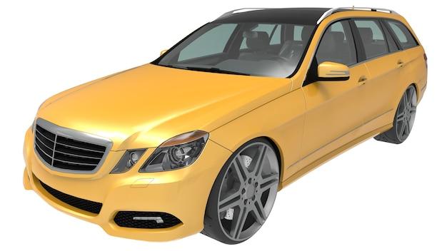 Grande renderização 3d amarela do carro familiar