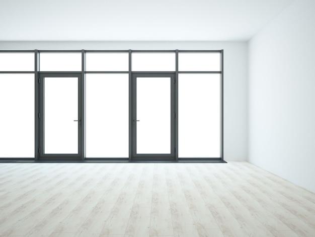 Grande sala branca vazia com janelas panorâmicas e piso de madeira