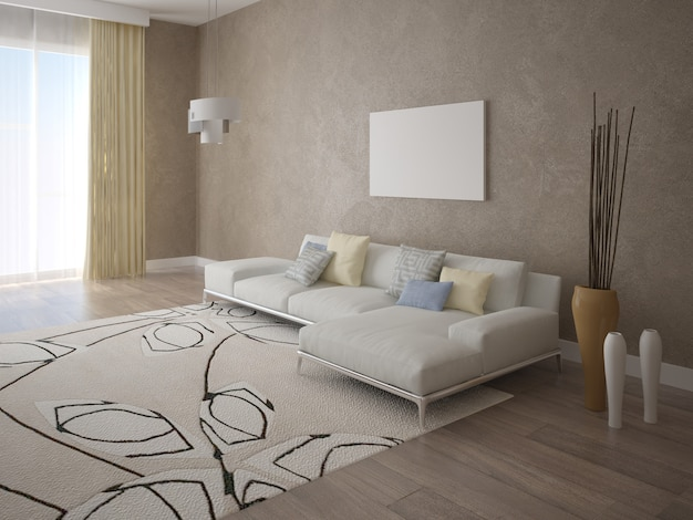 Grande sala luminosa com sofá moderno