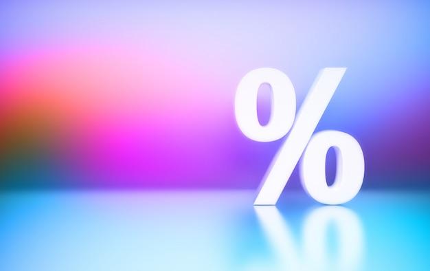 Grande símbolo de porcentagem branca sinal percentual no fundo gradiente azul rosa