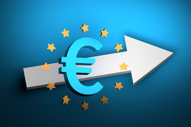 Grande sinal de euro em negrito azul com estrelas douradas