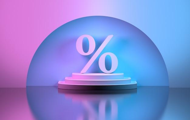 Grande sinal de porcentagem de venda no pedestal em um nicho