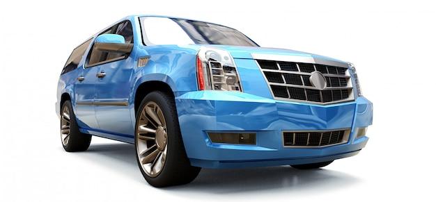 Grande suv azul premium. renderização em 3d.