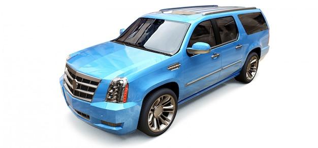 Grande suv premium azul em um espaço em branco. renderização em 3d.