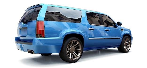 Grande suv premium azul sobre um fundo branco. renderização 3d.