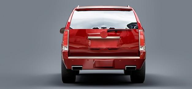 Grande suv premium vermelho em uma superfície cinza