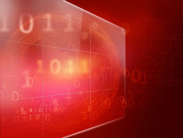 Grande tela digital com linhas de conexão e códigos binários