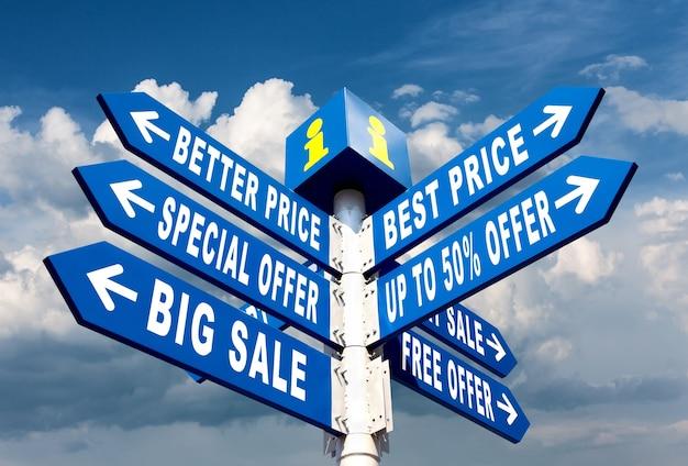 Grande venda, melhor preço e oferta especial sinais de trânsito direcionais no fundo do céu