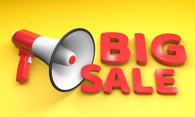 Grande venda palavras vermelhas. altifalante megafone vermelho em um fundo amarelo. renderização 3d.