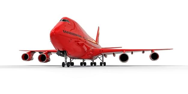 Grandes aeronaves de passageiros de grande capacidade para longos vôos transatlânticos. avião vermelho sobre fundo branco isolado. ilustração 3d