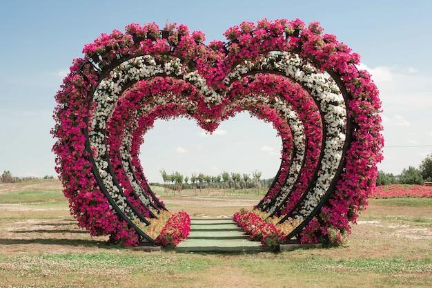 Grandes arcos decorativos de casamento feitos em forma de coração de flores amam no campo para visitar a cerimônia de casamento.