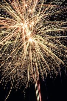 Grandes fogos de artifício coloridos no céu noturno