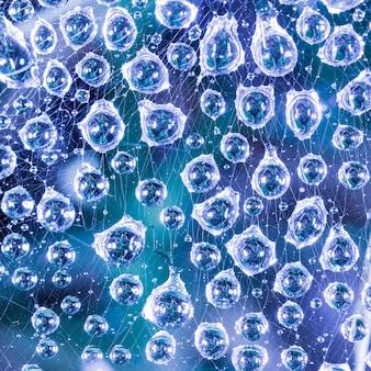 Grandes gotas de água após a chuva na web fecham-se sobre um fundo azul