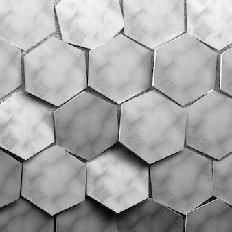Grandes hexágonos texturizados coloridos em cinza. hexágonos dispostos aleatoriamente.