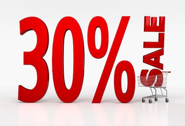 Grandes letras vermelhas com trinta por cento de desconto na venda no carrinho de compras em branco. renderização 3d