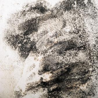 Grandes manchas úmidas, rachaduras e mofo preto na parede da sala da casa após chuva forte e muita água