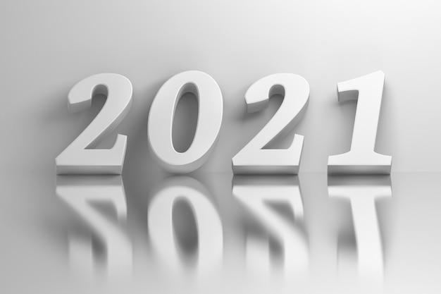 Grandes números 2021 em negrito brancos sobre a superfície do espelho