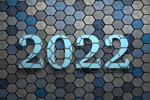 Grandes números em negrito de ano novo de 2022 sobre a superfície com muitos hexágonos coloridos aleatórios cobertos por uma estrutura de arame cinza